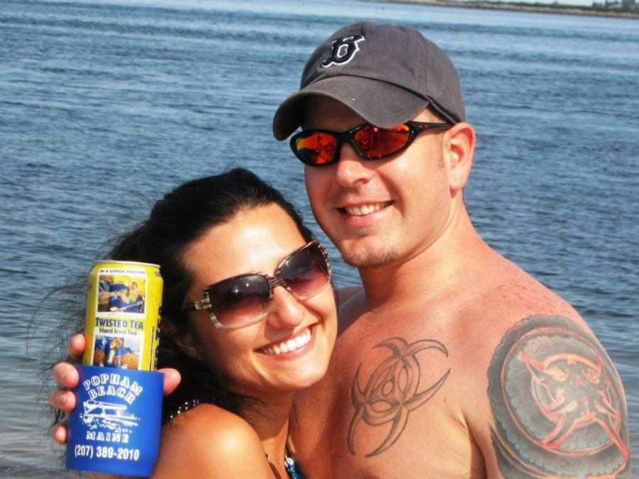 husband and wife drinking