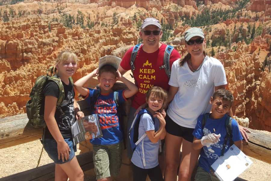 family hiking on vacation