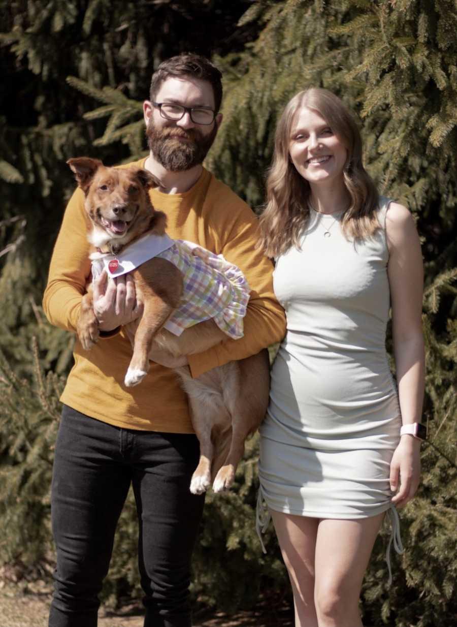 Woman, boyfriend, and dog
