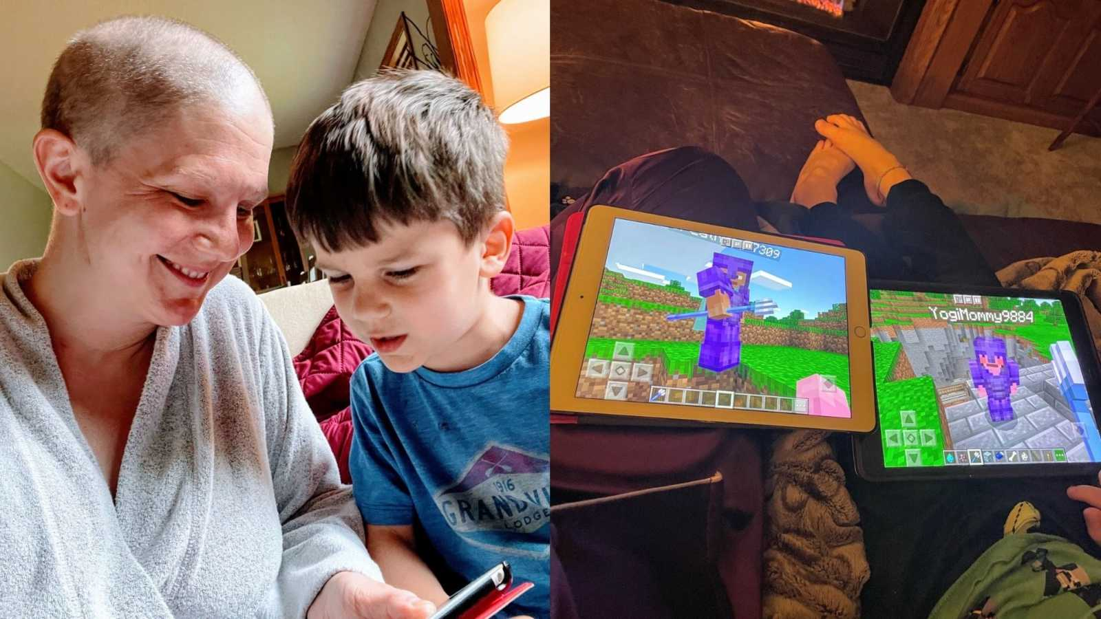 Mom and son play iPad games together while the mom is battling breast cancer