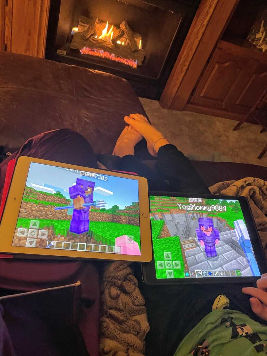 Mom snaps photo of hers and her sons' avatars on an iPad game