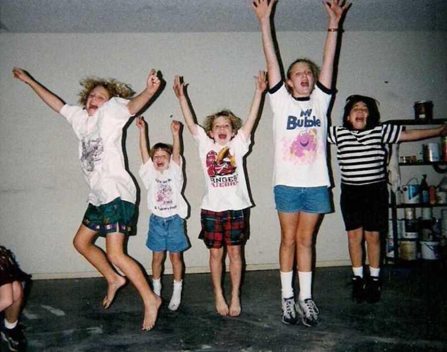 Kids jumping together