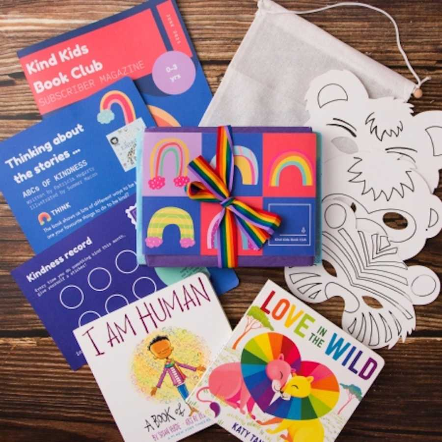 Colorful book club mail packaging