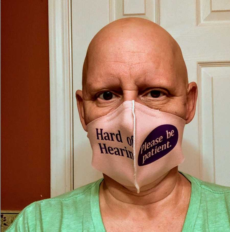 Woman wearing mask advocating for hearing loss