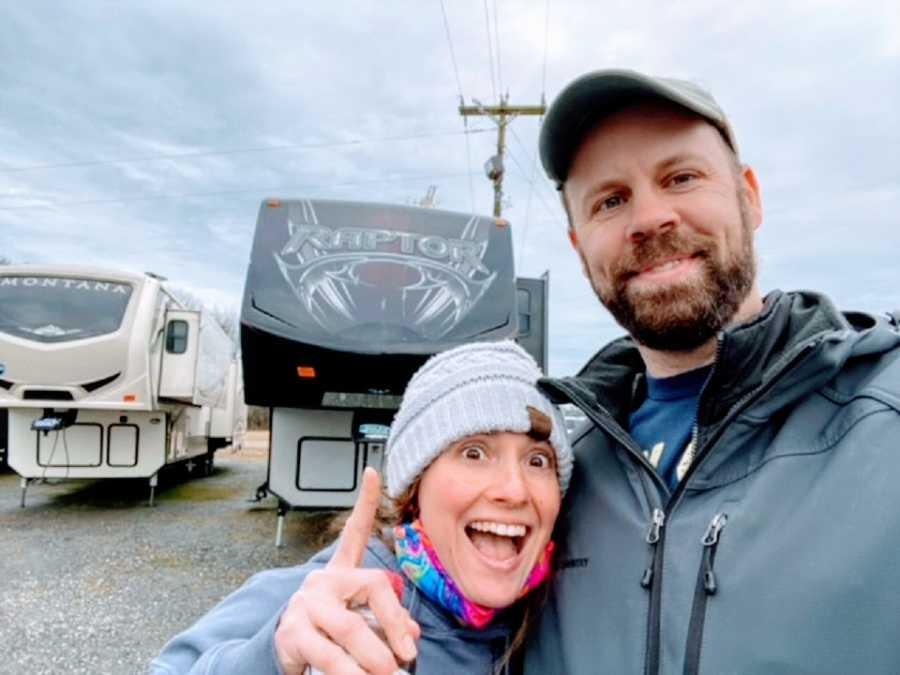 A woman and her husband with their new RV home