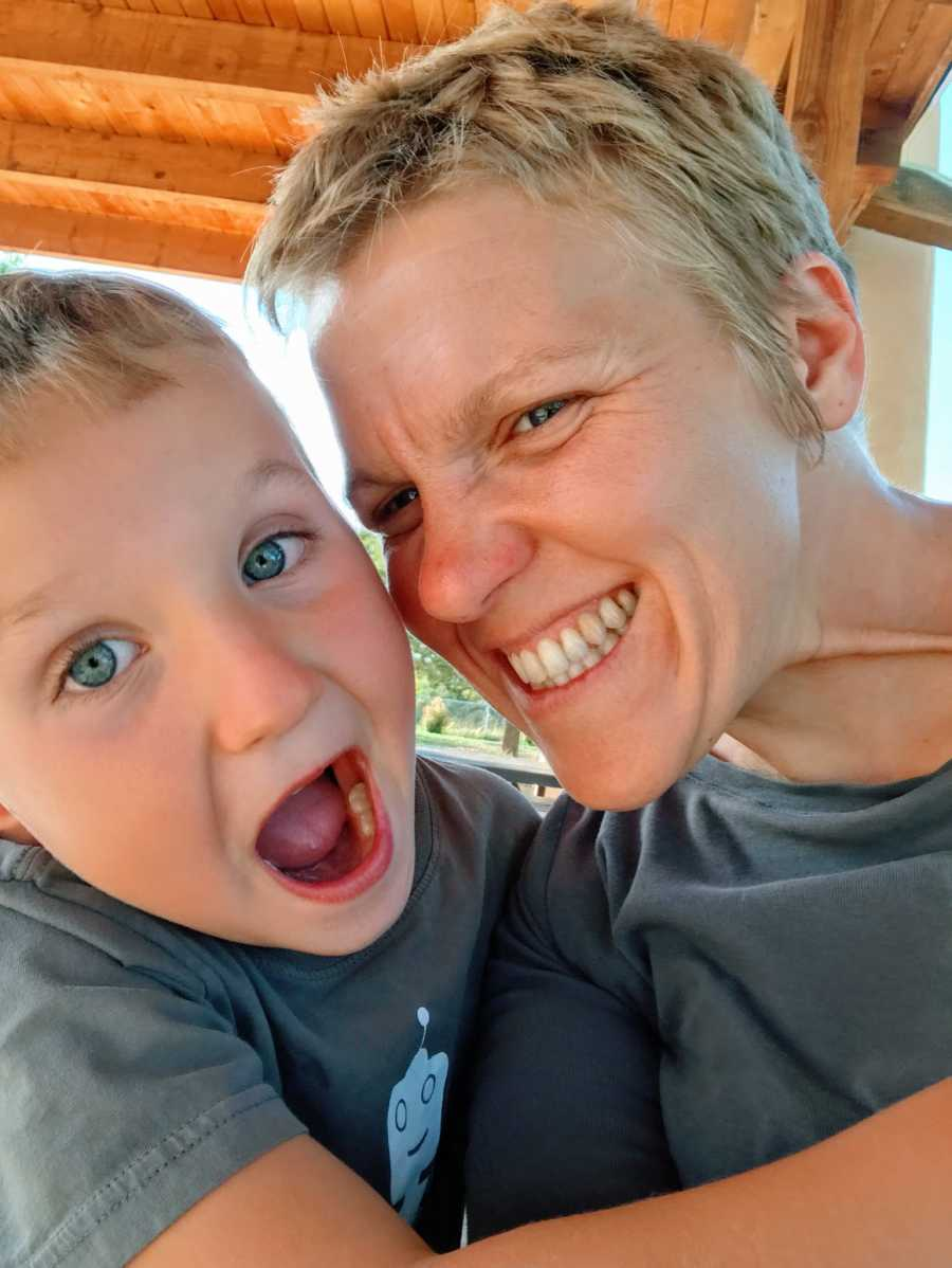 A mom with autism and her son make silly faces