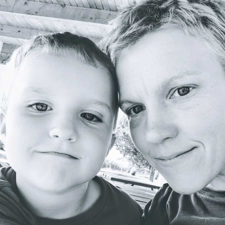 A mom and her son, both of whom have autism