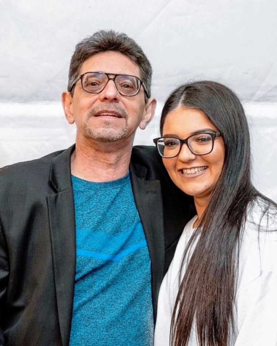 A woman with ADHD and her father both wearing glasses
