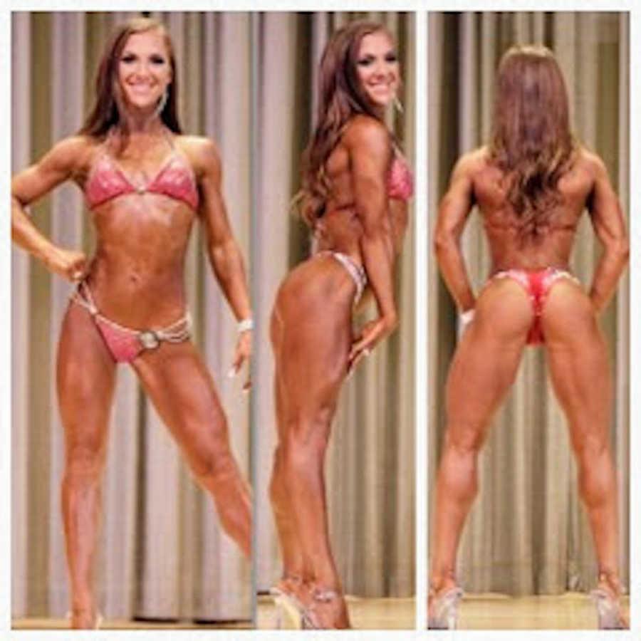 Photoset of woman in bikini bodybuilding competition