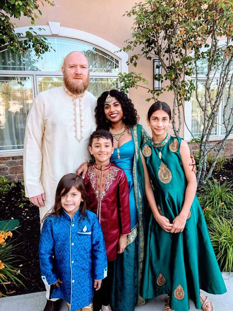 A family dressed up for an event