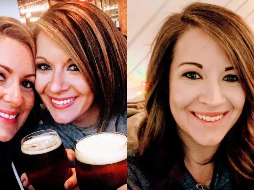Two women drink beers together and a recovering alcoholic smiles at the camera