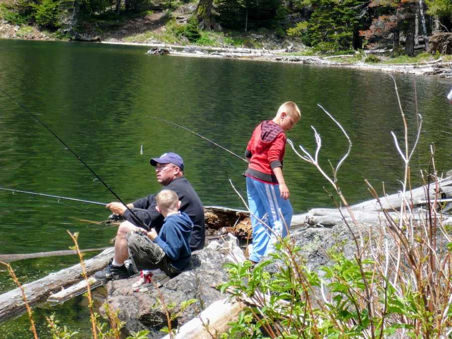 Father fishing at lake with two sons