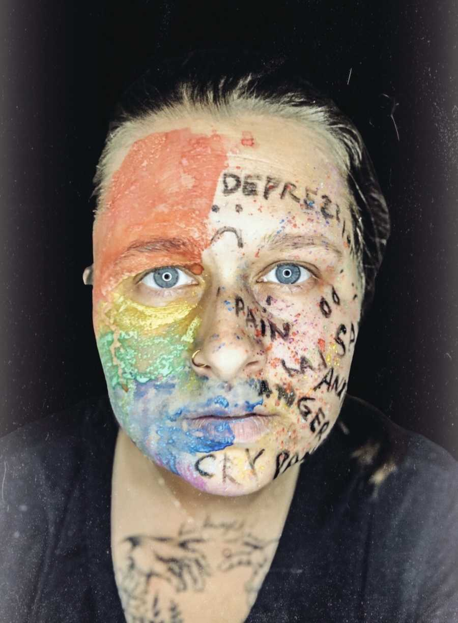 woman with depression written on face