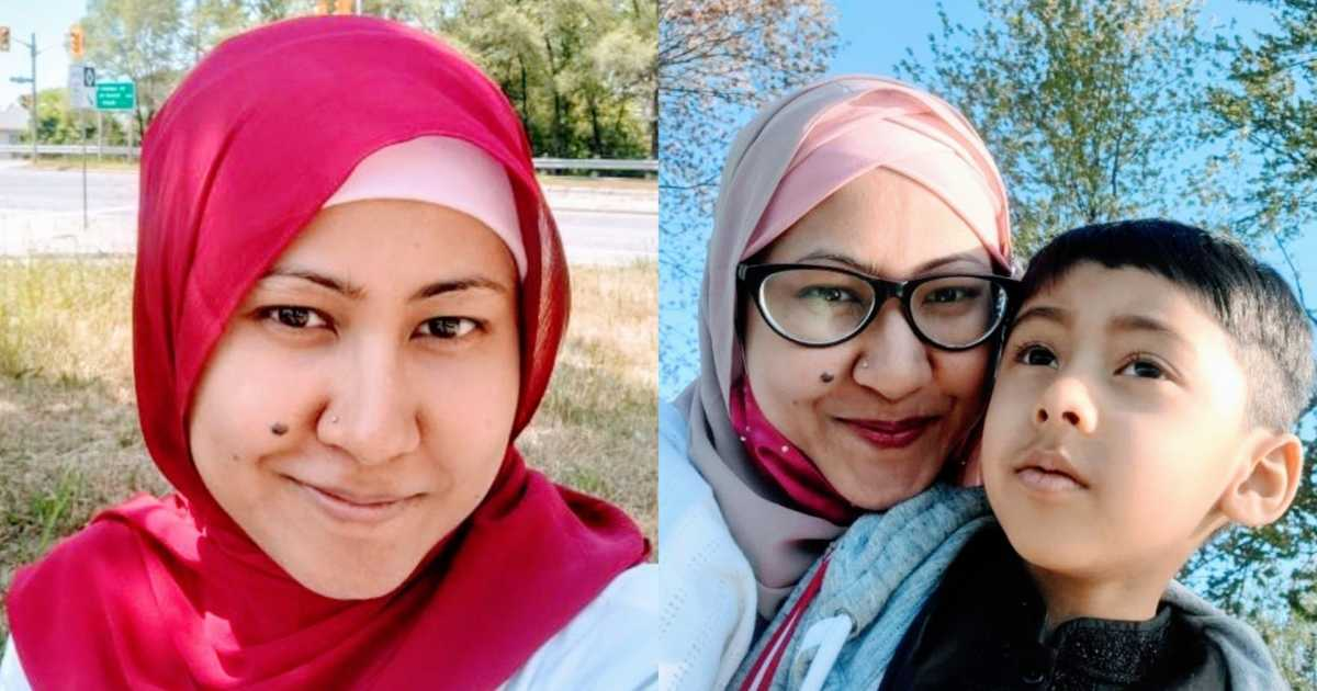 A neurodivergent woman wearing a hijab and a mother wearing a hijab with her autistic son