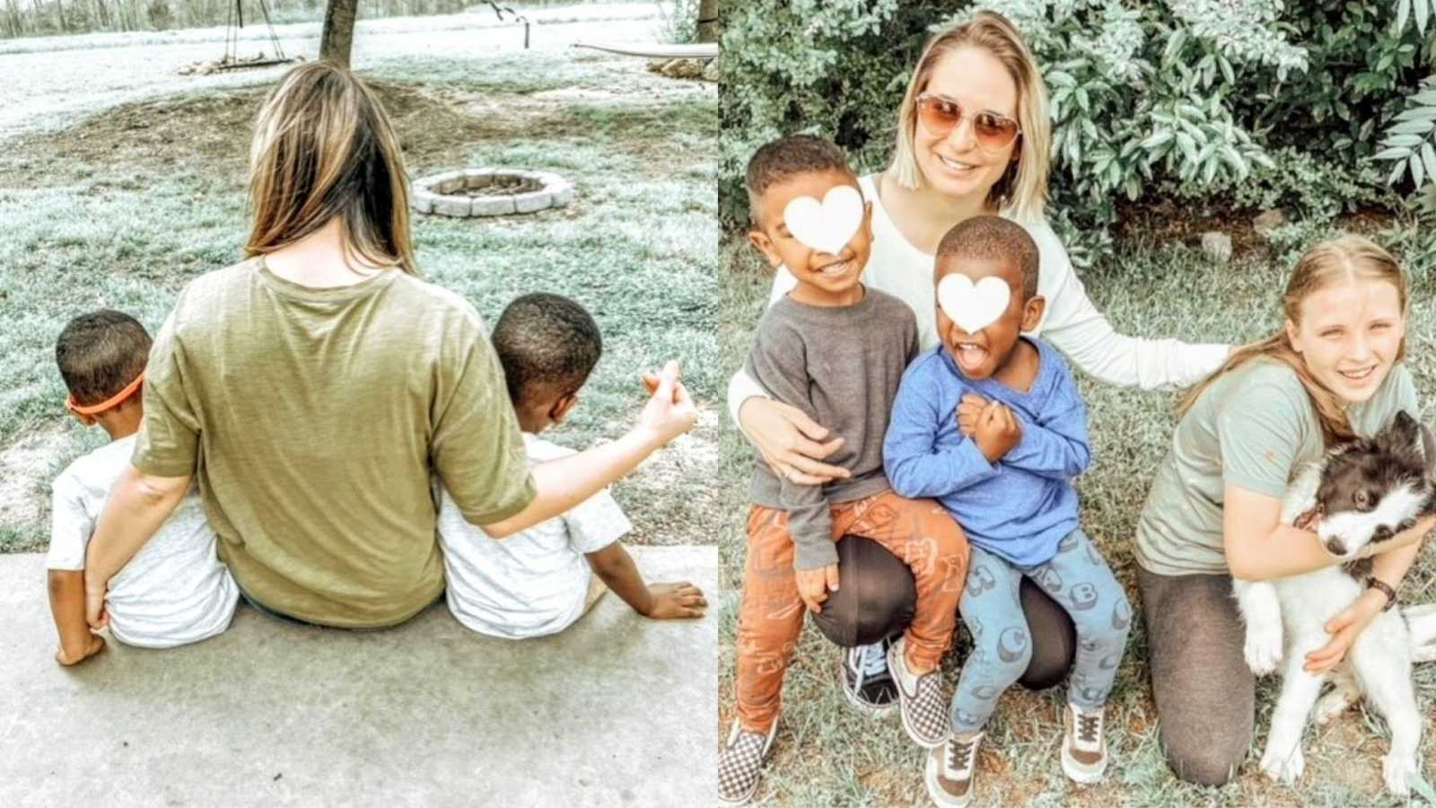 Foster mom takes photos with her foster sons and adopted daughter in their backyard