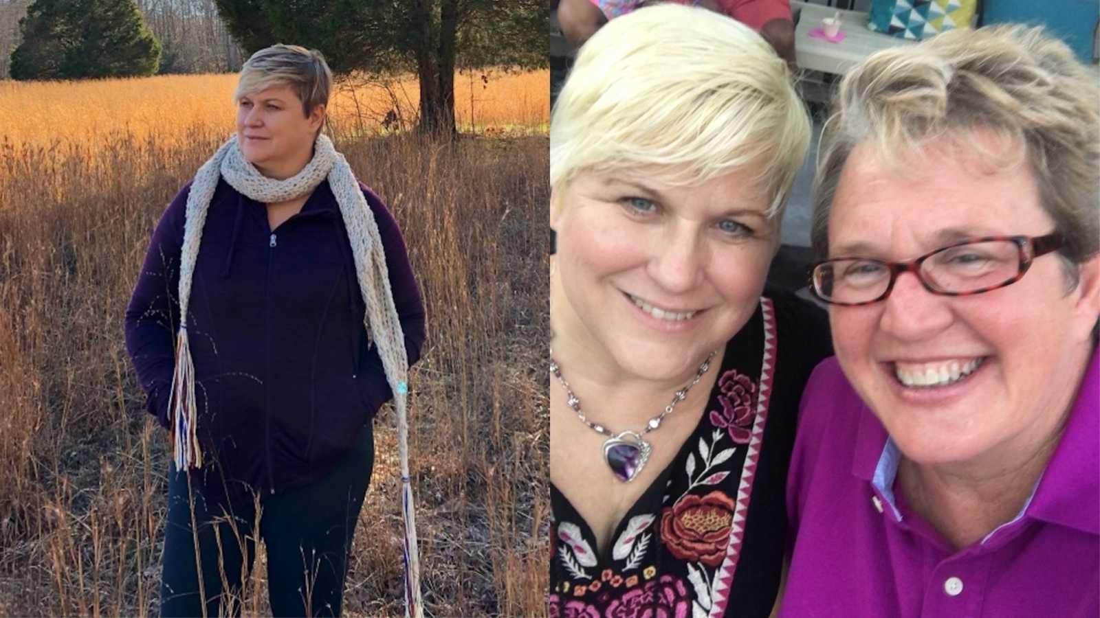 woman in field, woman with girlfriend