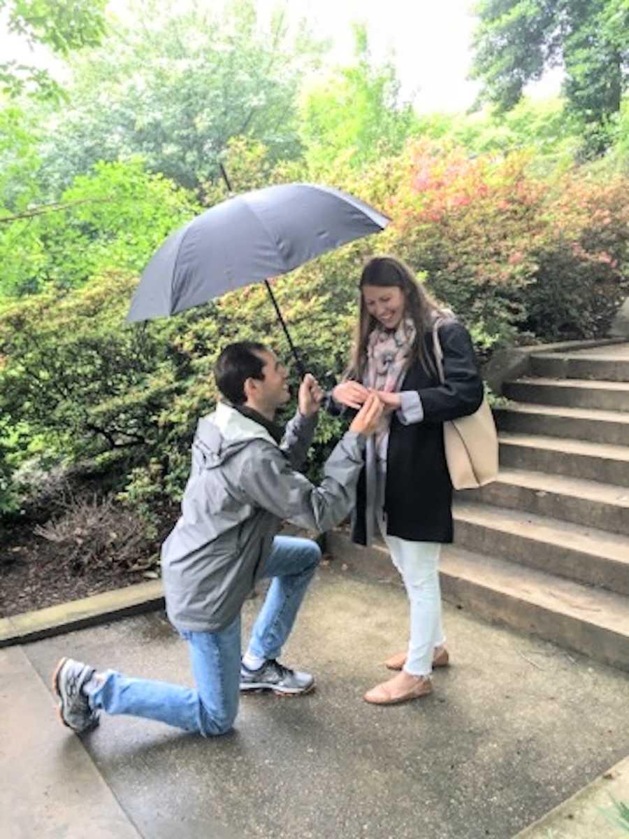 proposal in the rain