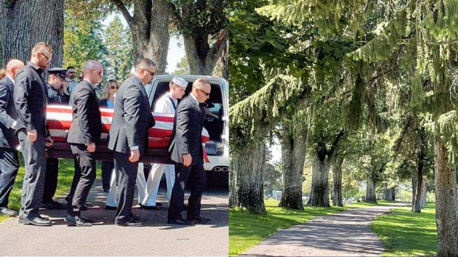Widow grieving loss of her husband takes a comparison photo from her husband's funeral to now
