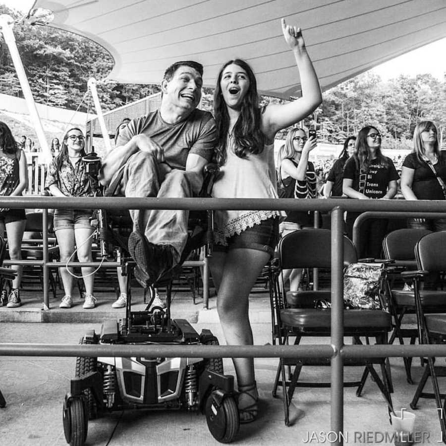 girl and father at a show