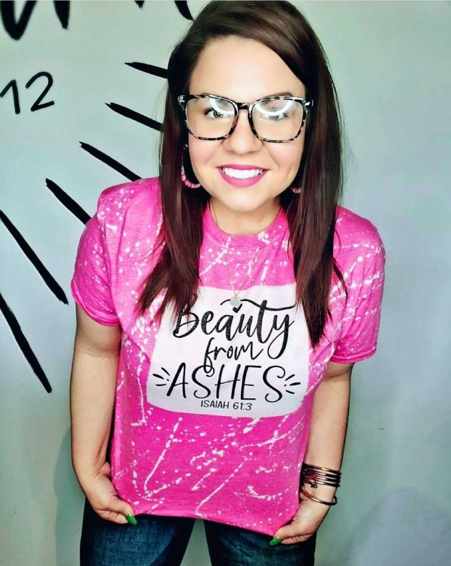 """woman wearing """"beauty from ashes"""" shirt"""