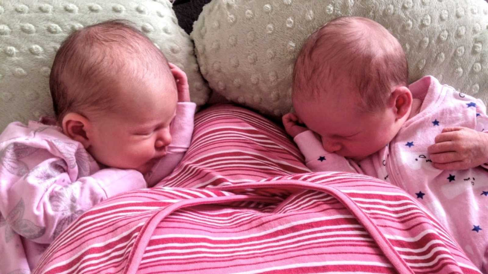 Mom shares photo of her newborn twins napping after breastfeeding