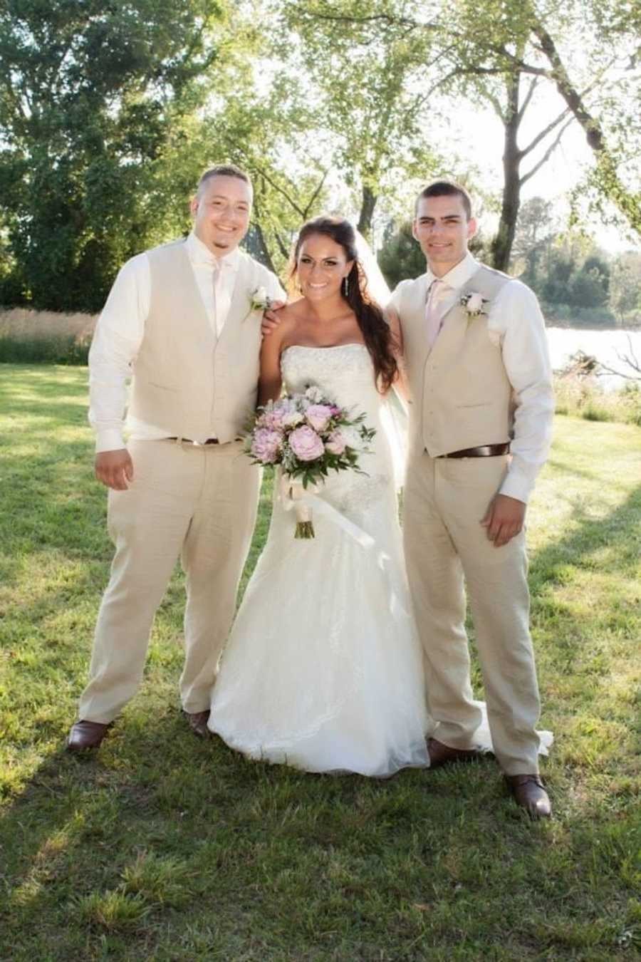 bride with her two brothers