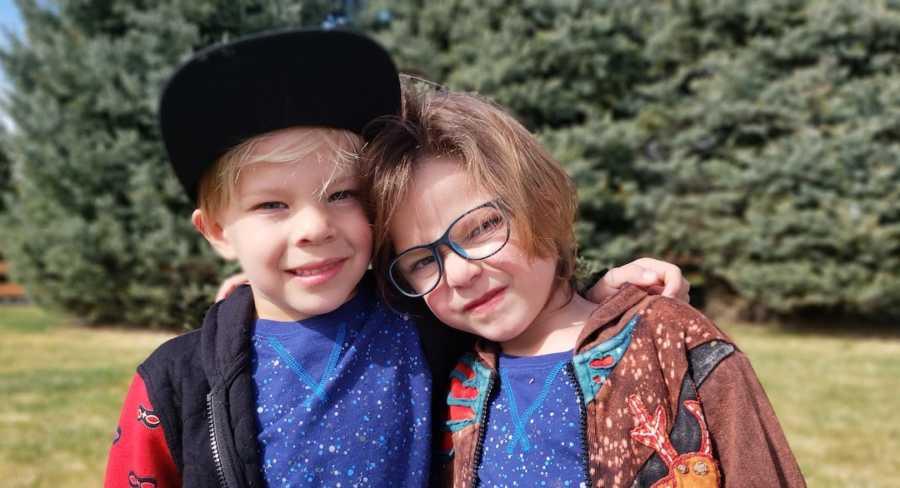 twin boys posing