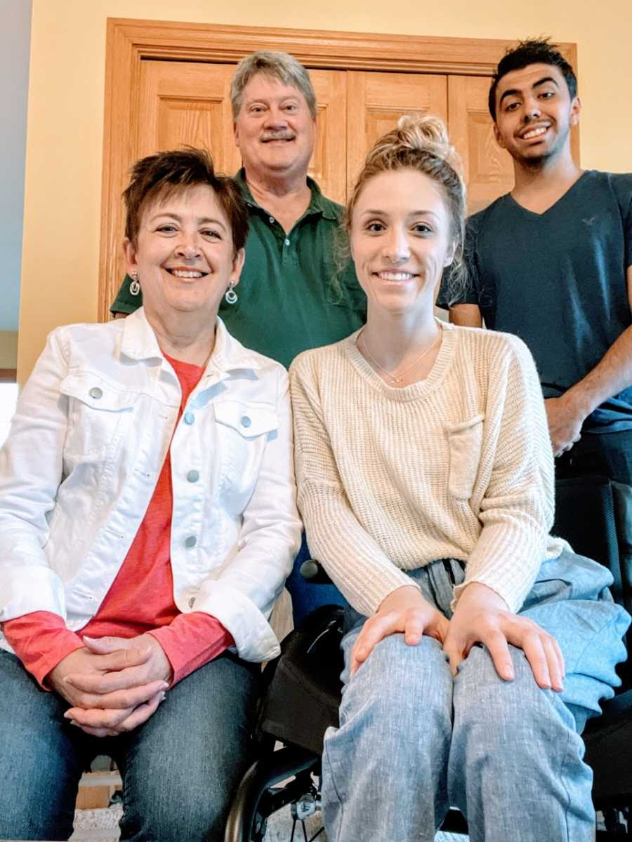 Woman paralyzed after a car accident takes a family photo