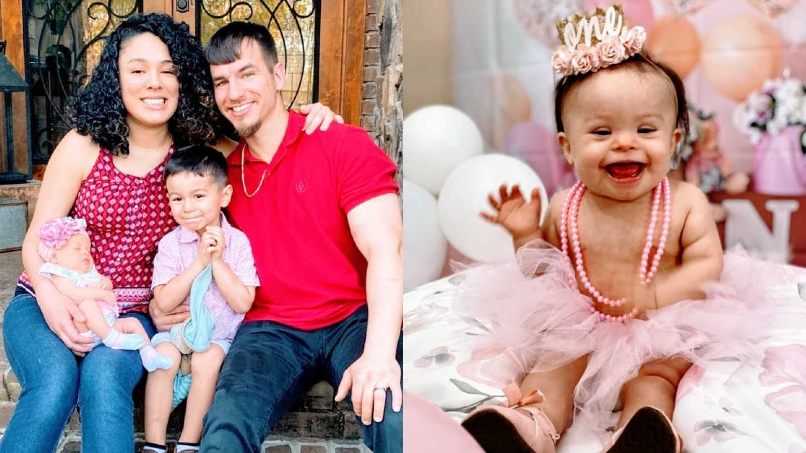 Parents sit with their two children and a little girl with Down Syndrome wearing a tutu