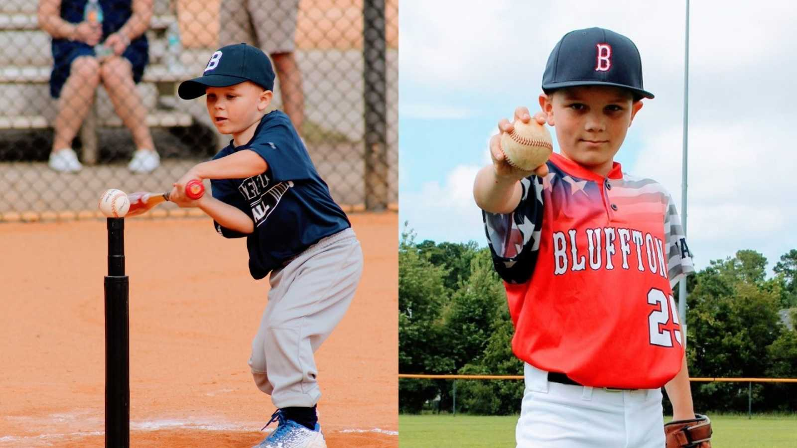 A boy swings at a baseball on a tee and a boy holds a baseball towards the camera
