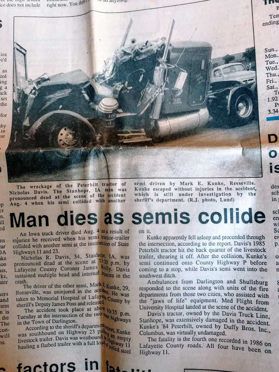 A newspaper clipping of a car accident