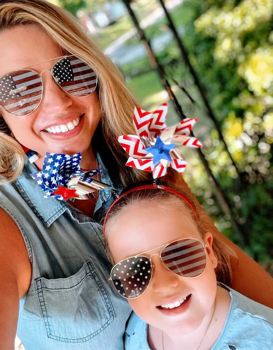 A mom and her daughter dressed up for the 4th of July