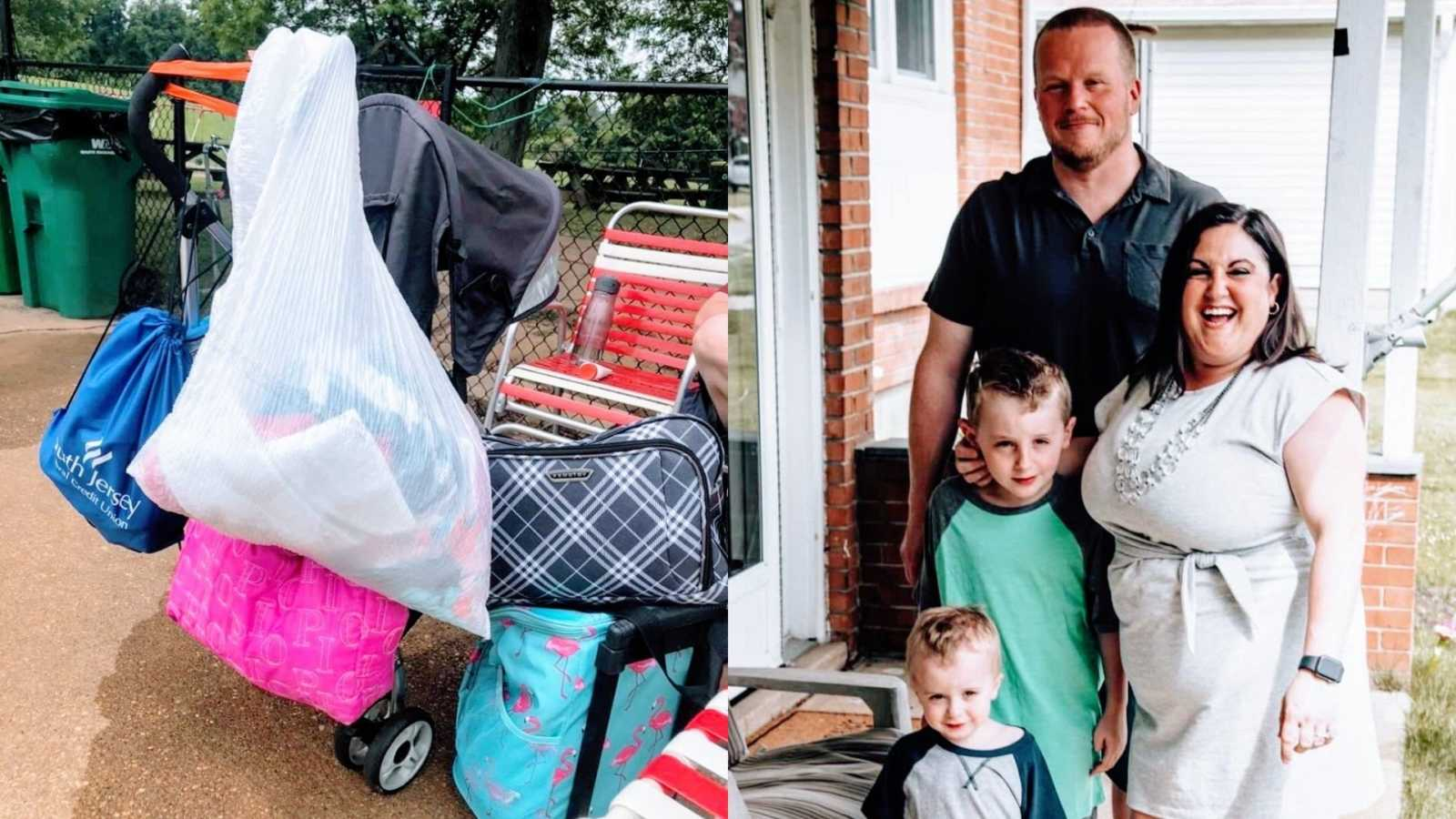 A stroller with several bags on it and a family with two children standing on their porch
