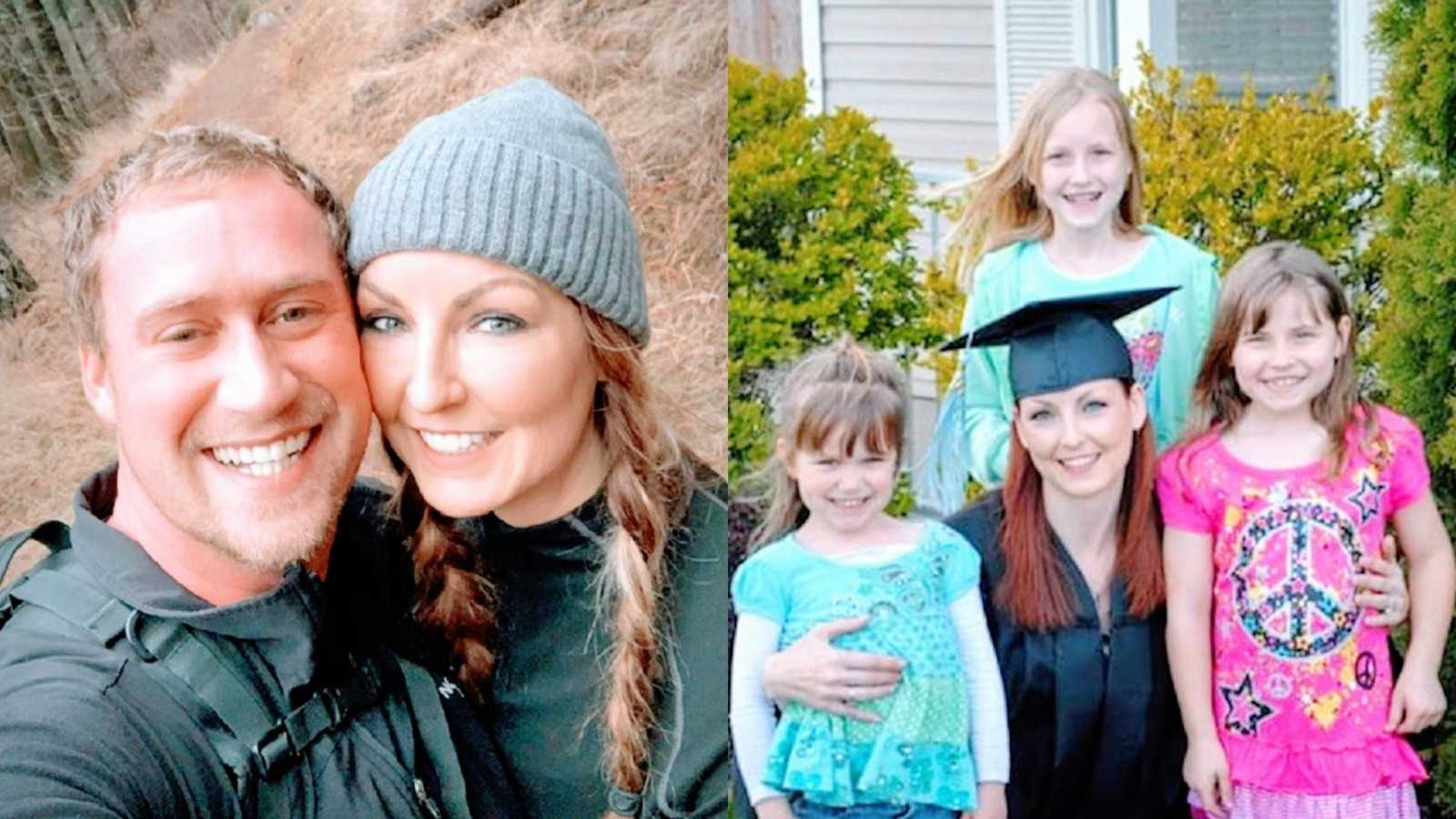 A mother and her husband in the woods and a mother wearing a cap and gown with her three daughters