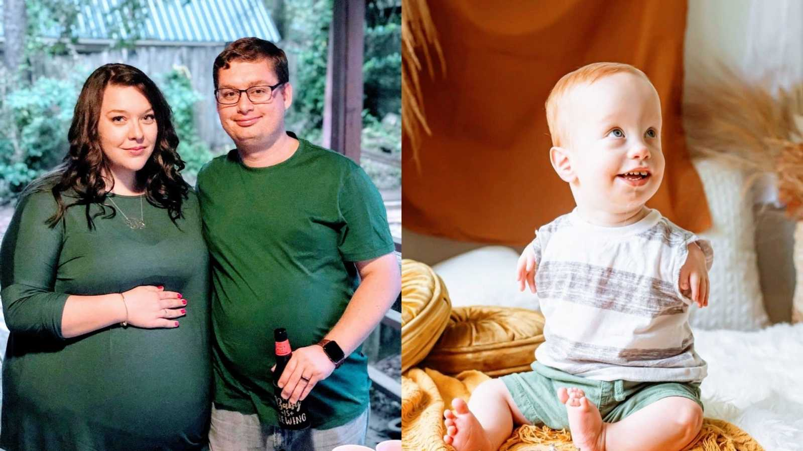 A pregnant woman and her husband wearing green and a baby with TAR Syndrome wearing a striped shirt