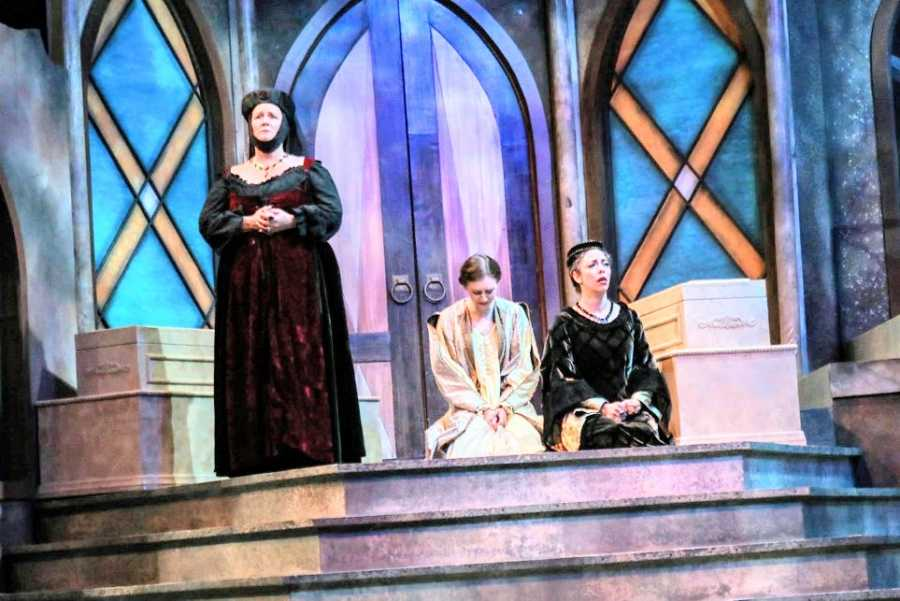 A young woman acts in a production of Richard III