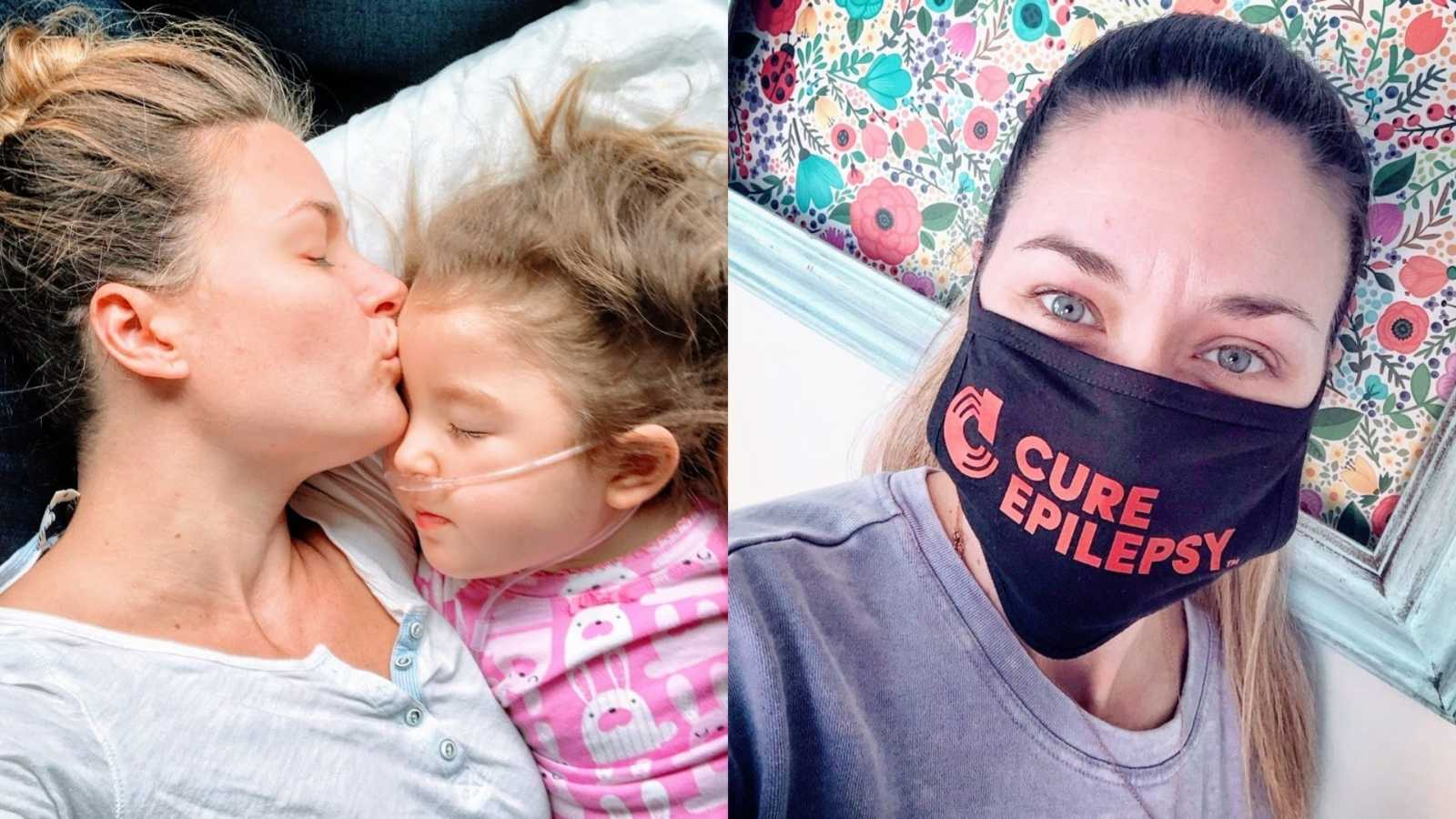 A mother kisses her daughter on the forehead and a woman wears a CURE Epilepsy mask