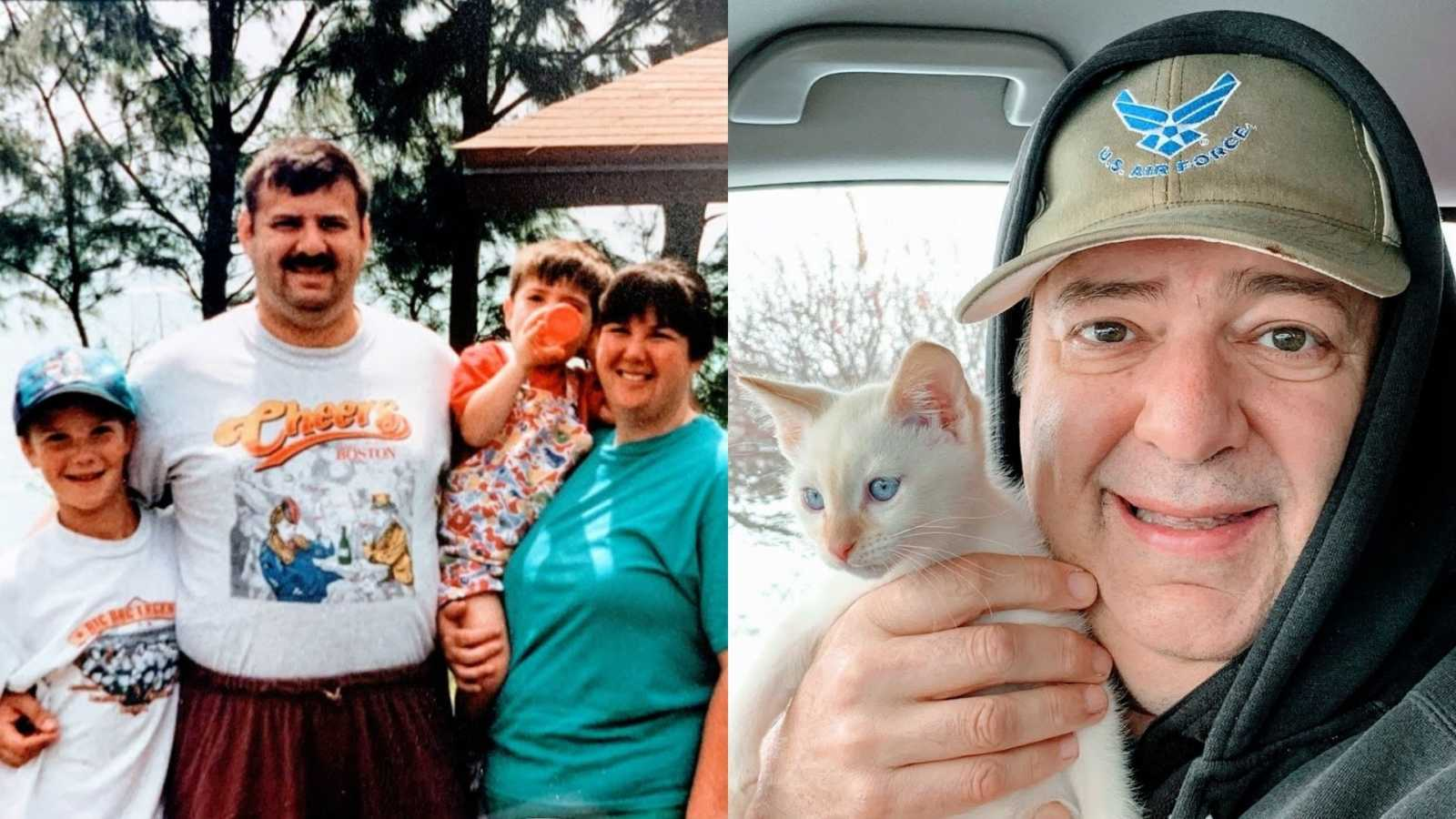 A family of four stand together outside and an older man holds up a white kitten