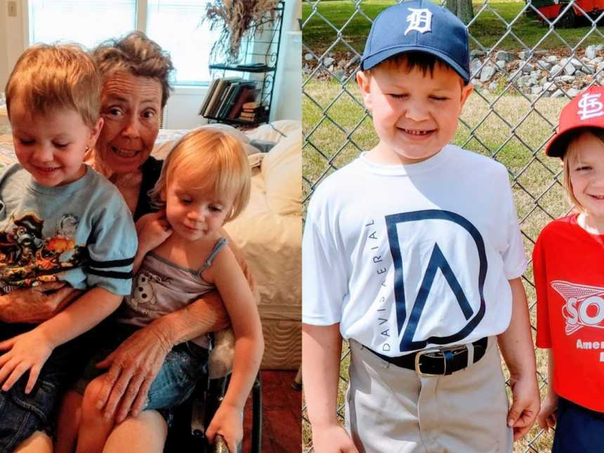 An older woman sits in a wheelchair with her grandchildren and two children stand in baseball uniforms