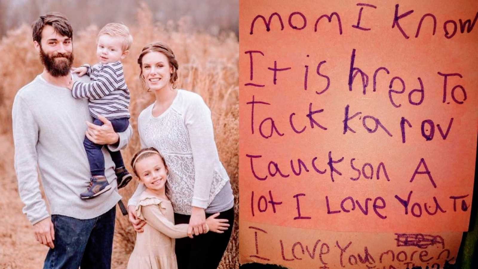 A family with two children stand in a field and a note written in purple ink on a post-it note