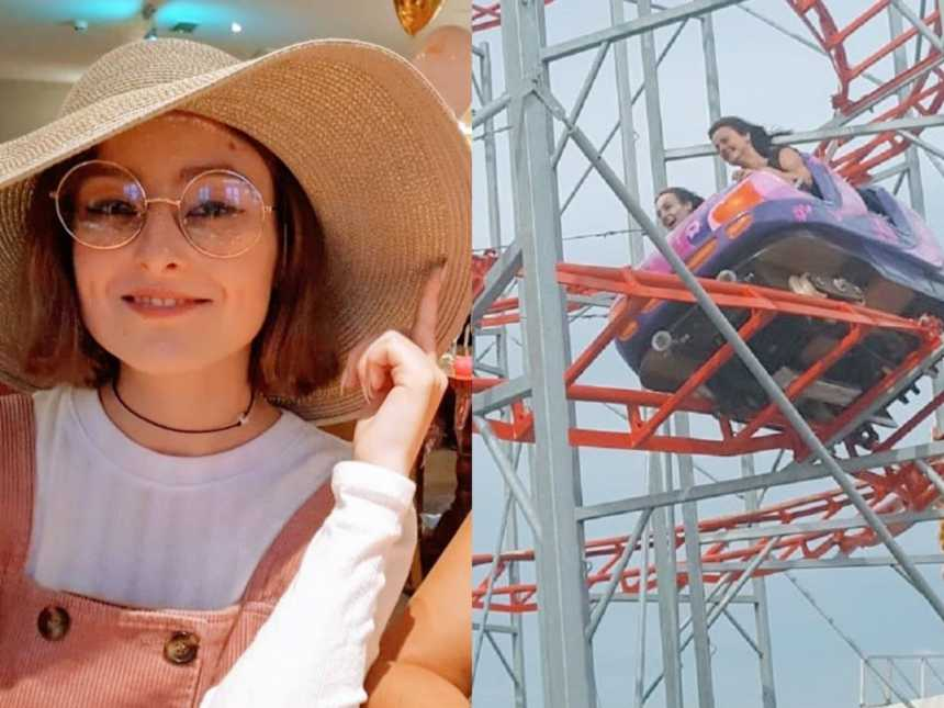 A woman sits at a table wearing overalls and a big sunhat and a woman and her mother ride a rollercoaster together