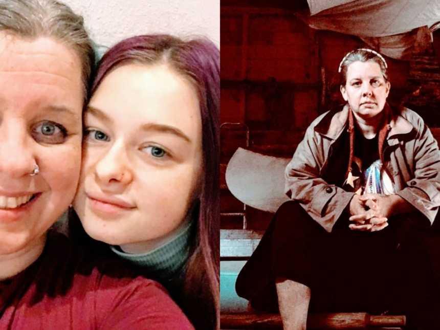 一位非双亲家长和他们的女儿脸贴在一起进行自拍,一位非双亲独自坐在伍德面前