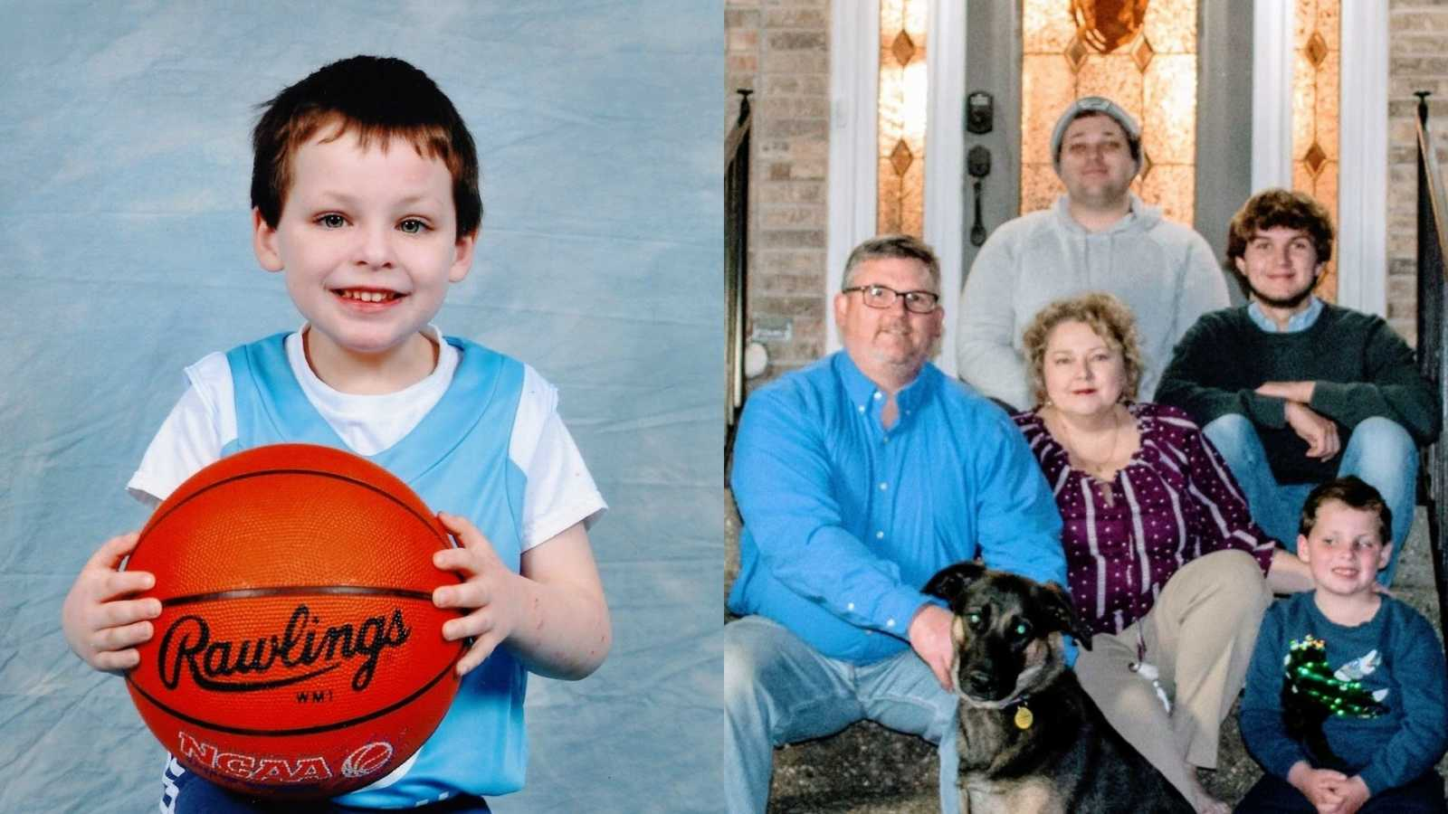 A boy sits holding a basketball on his lap and a family of five sit with their dog on their front steps