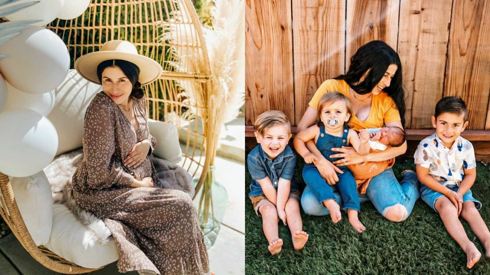 Woman takes a photo while pregnant with her fourth child, then with her four sons after giving birth