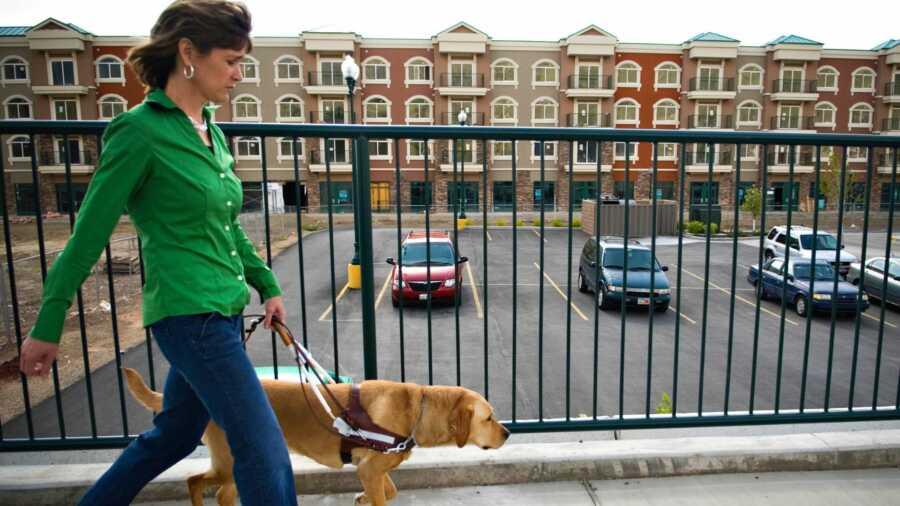 Woman in green long sleeve shirt walking service dog on side walk
