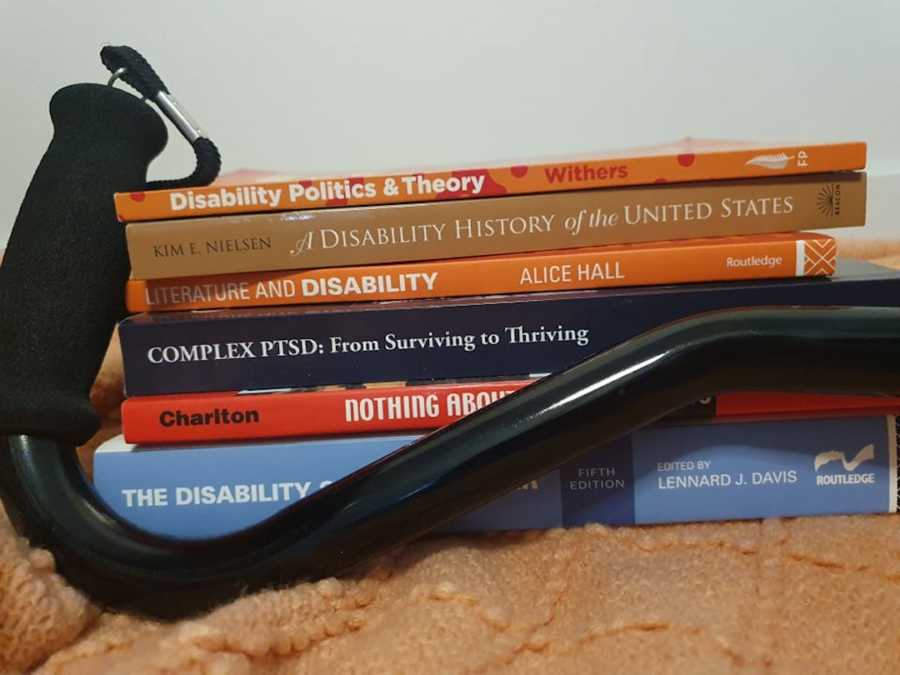 books on disability with a cane