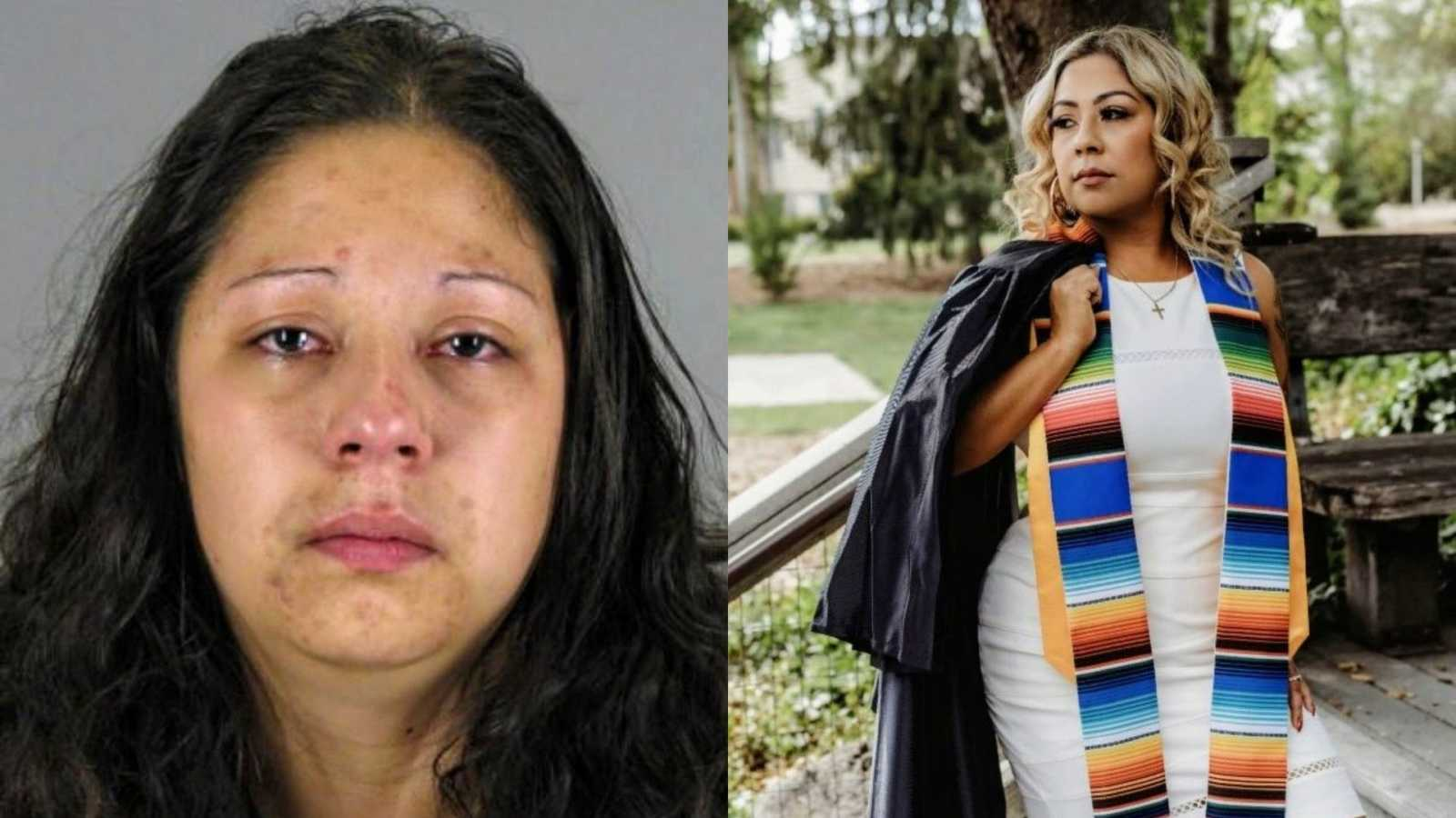 Human trafficking survivor shows one of her many mugshots and her college graduation photos