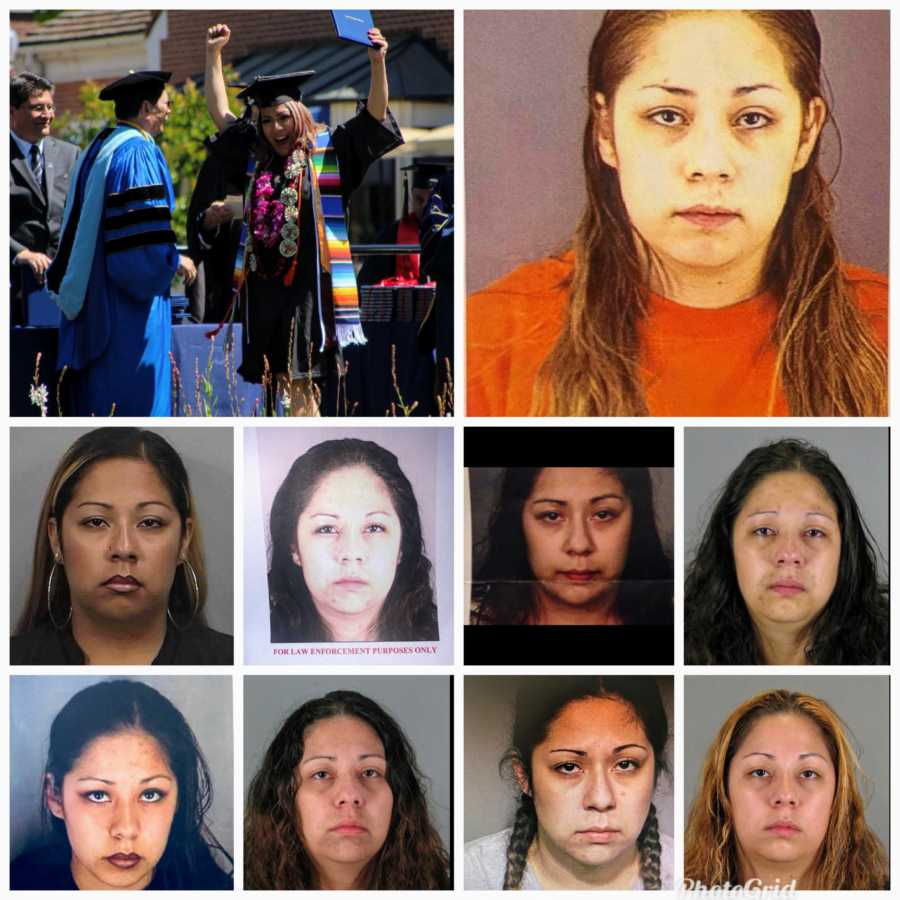 Human trafficking survivor and recovered addict shows her many many mugshots and her celebrating her college graduation