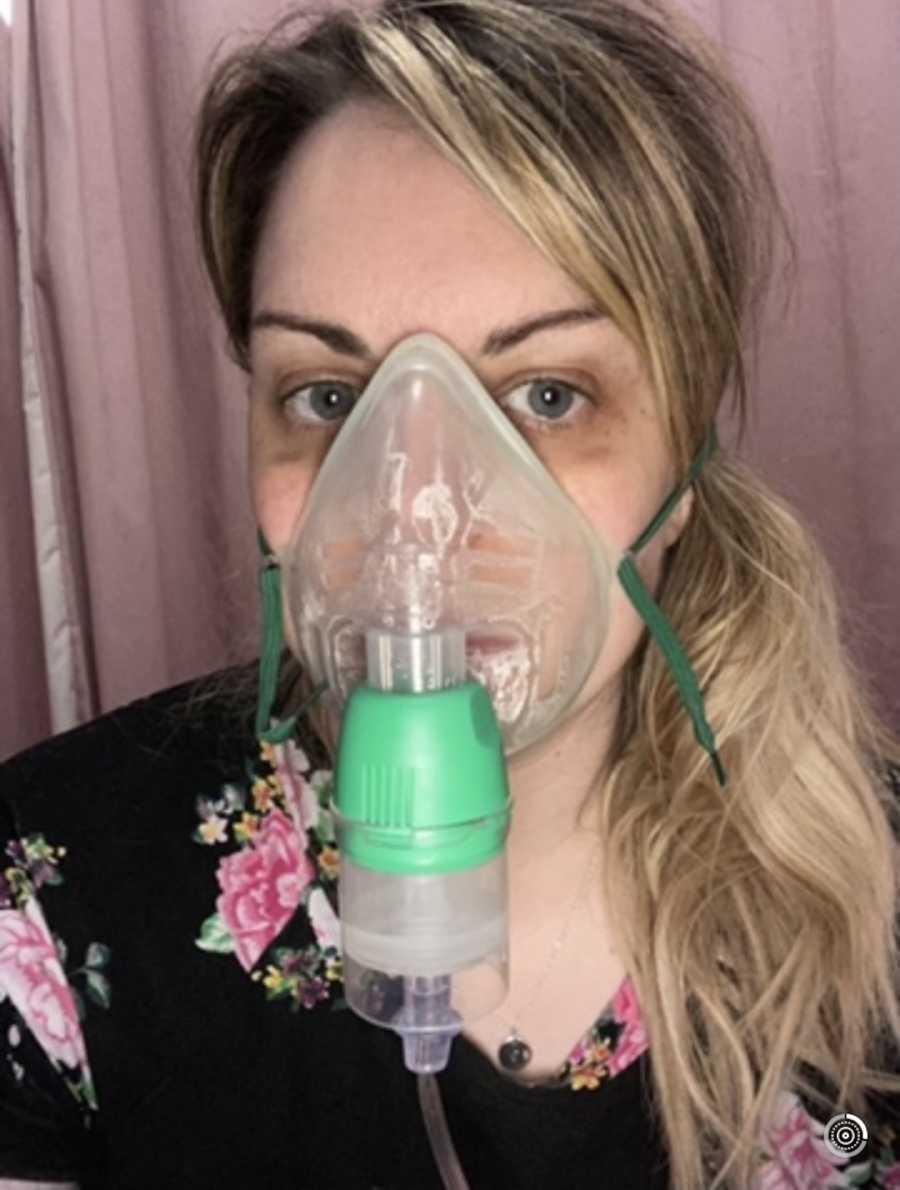 woman with nebulizer
