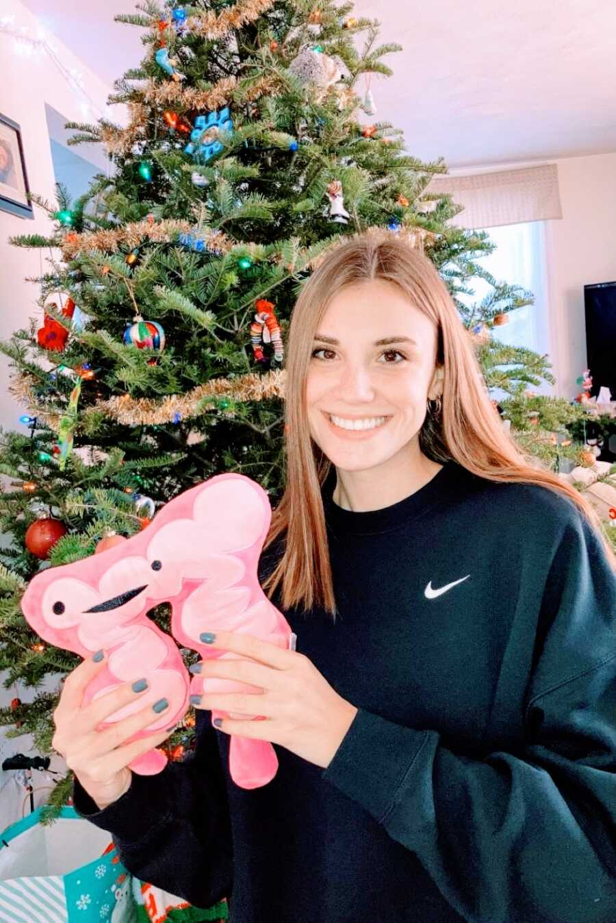 Woman recovering from a colectomy due to ulcerative colitis gets gifted a stuffed colon for Christmas